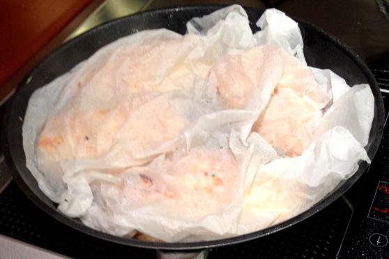 stuffed chicken  frying pan