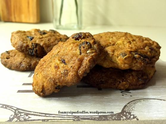spiced oatmeal cookies with dried cranberries and apricots